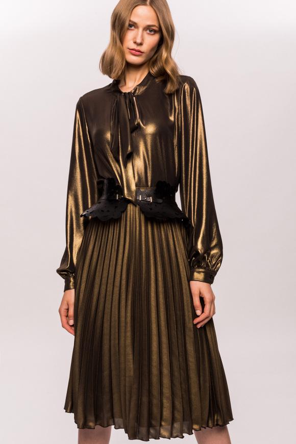 Złota metaliczna plisowana spódnica