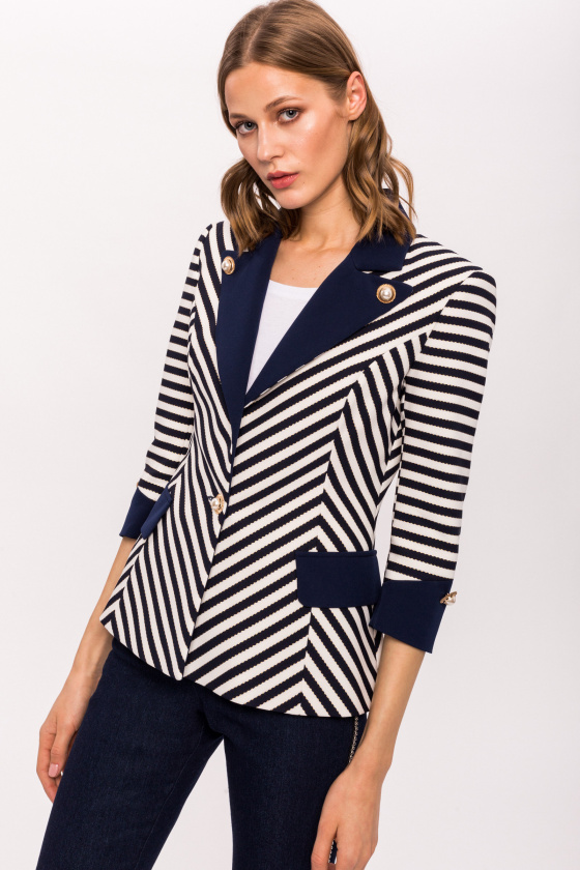 Navy stripe blazer with contrast lapel