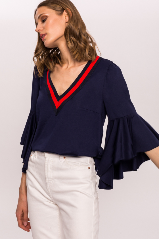 Viscose top with ruffle sleeve