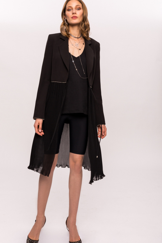 Casual jacket with pleated detail