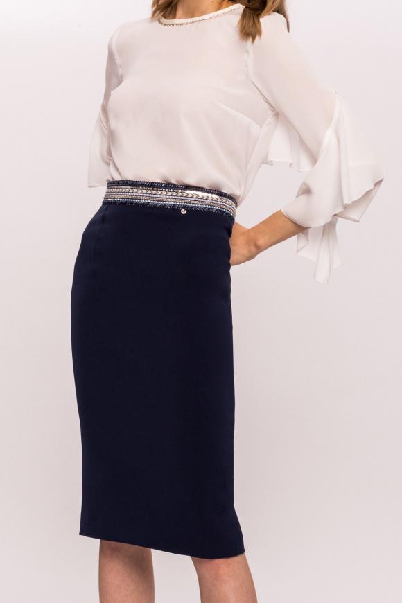 Spódnica biurowa z ozdobnym pasem