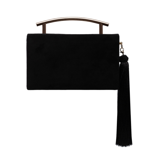 Natural leather clutch with fringe