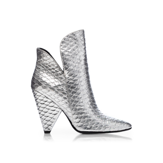 Crocodile skin embossed cut out boots