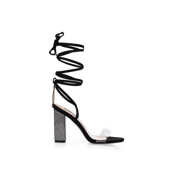 Sandals with crystal embellished high heels