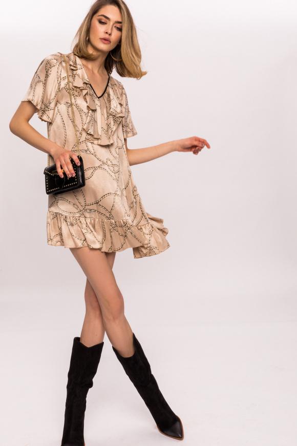 Sukienka mini z nadrukiem i falbankami