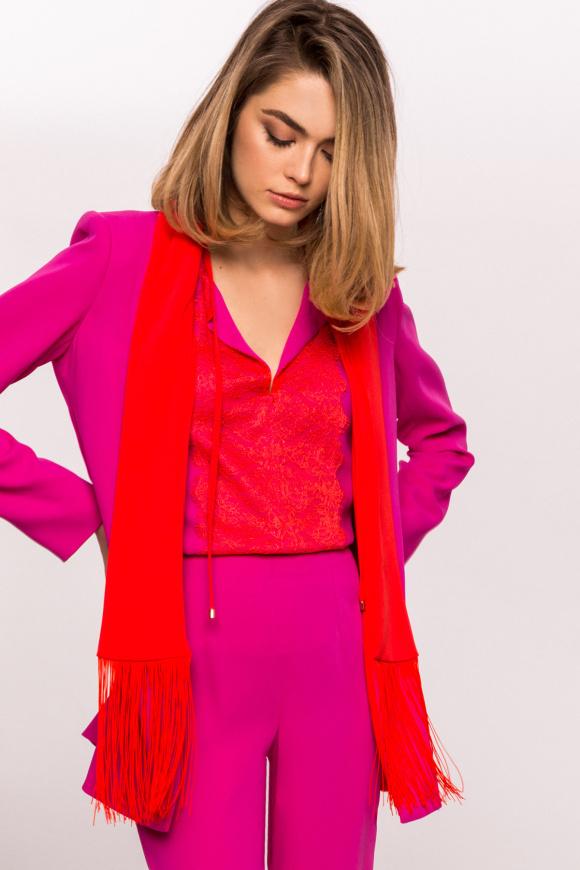 Fringe lapel contrasting jacket