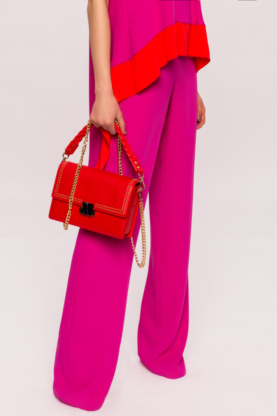 High waisted fuchsia pants