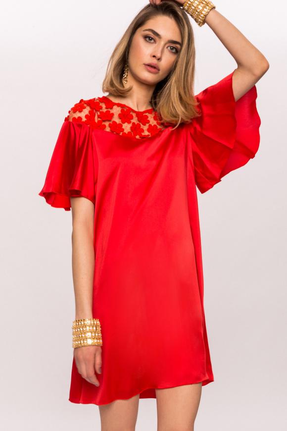 Satynowa sukienka mini z kwiatowej koronki 3D