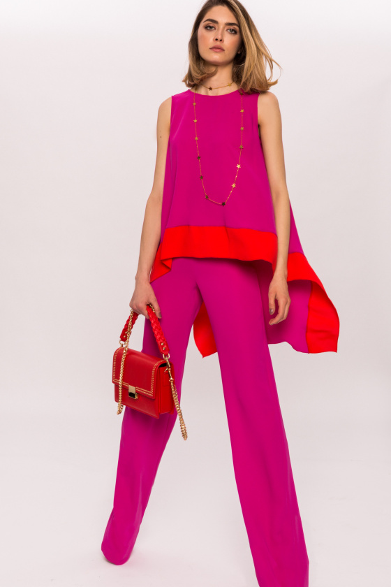 Asymmetric top with contrasting colors
