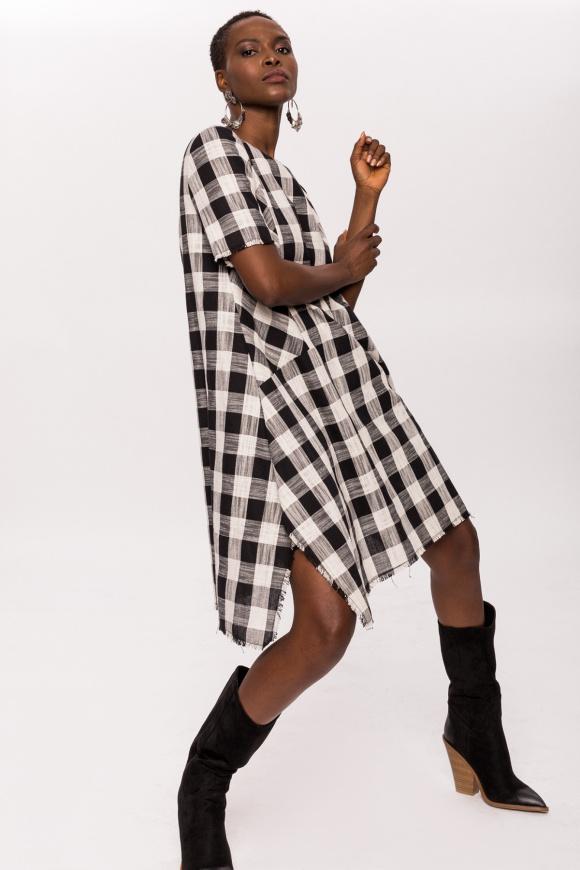 Plaid asymmetric dress