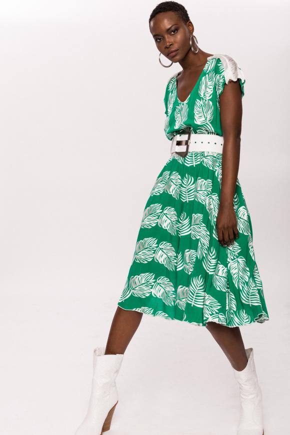 Wiskozowa sukienka z frędzlami na ramionach