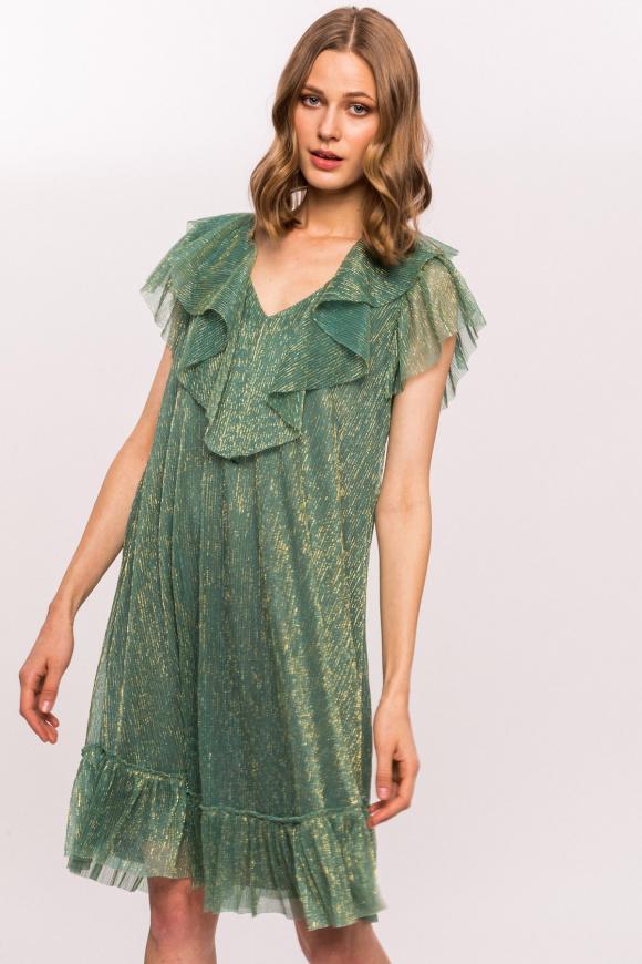 Golden thread and neck ruffle detail dress