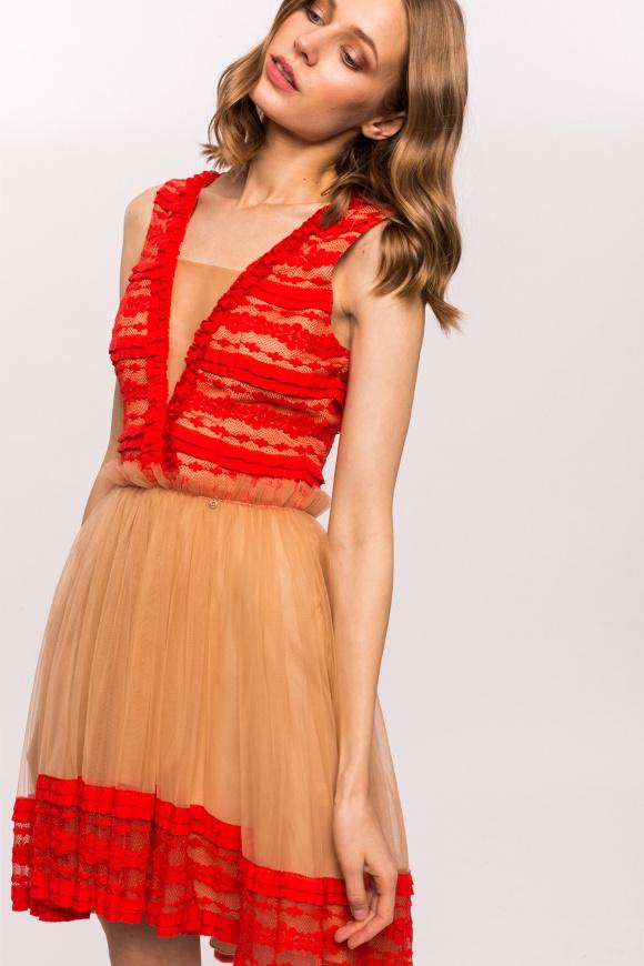 Koronkowa sukienka z tiulową spódnicą