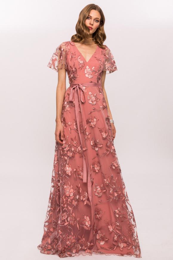 Sukienka z haftowanymi kwiatami i sznurkiem