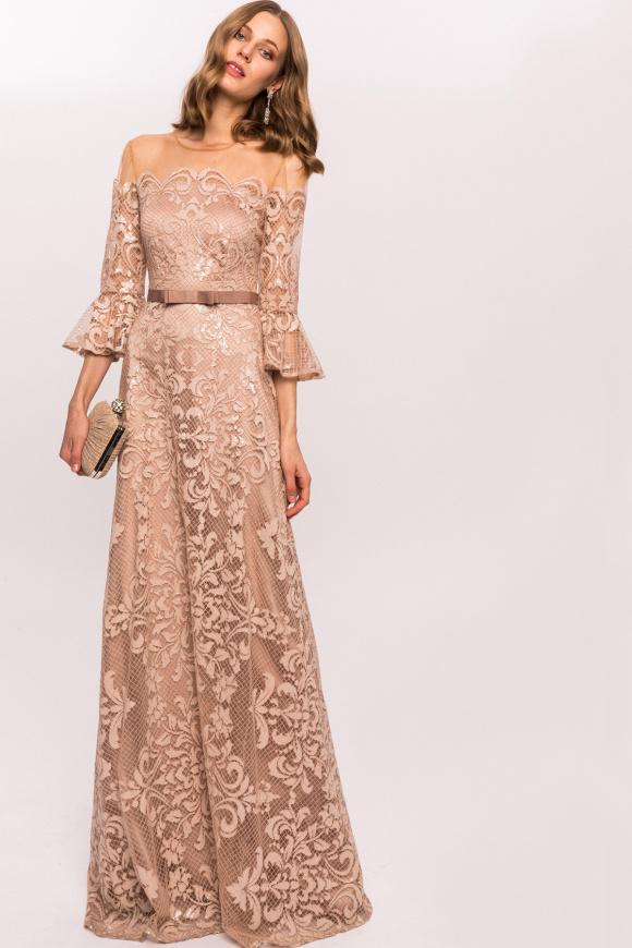 Koronkowa sukienka z cekinowymi detalami i paskiem