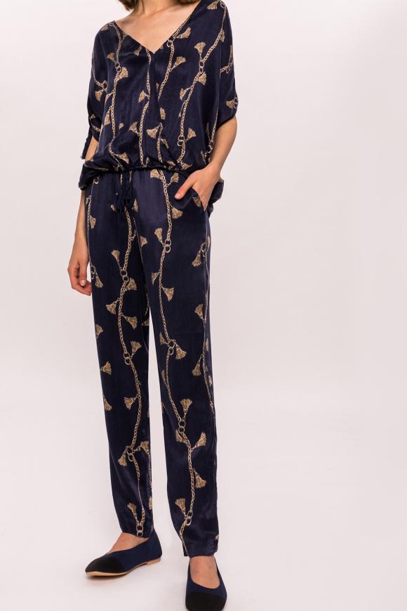 Printed tassel pants