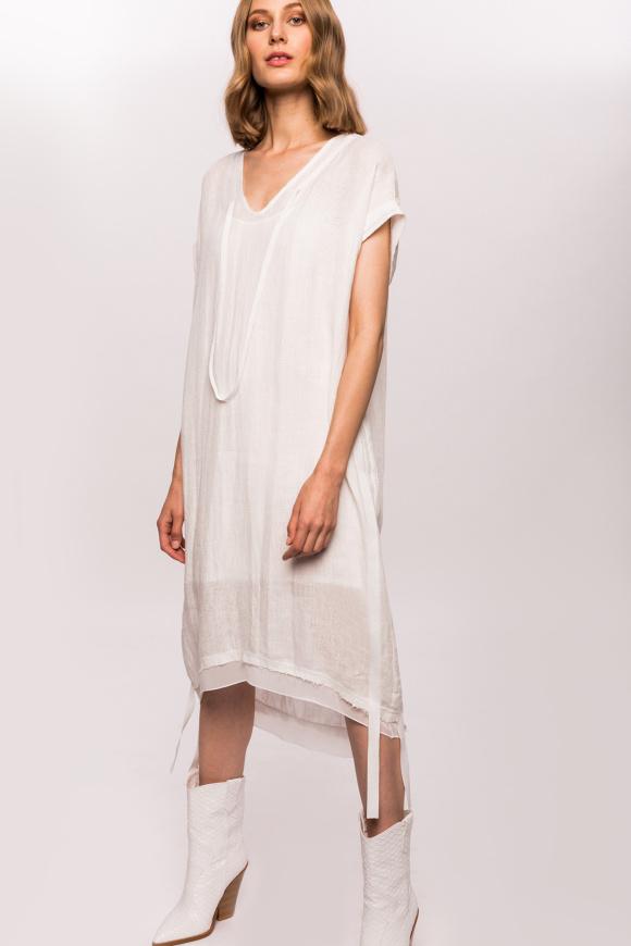 Lniana sukienka z wstążkami