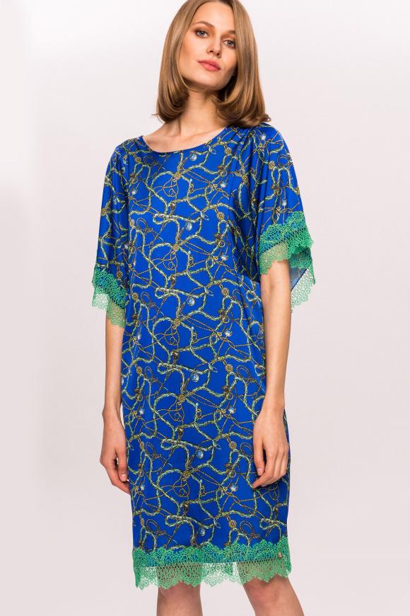 Satynowa sukienka z nadrukiem i kontrastową koronką