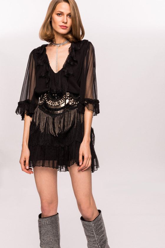 Silk and ruffle dress with lace