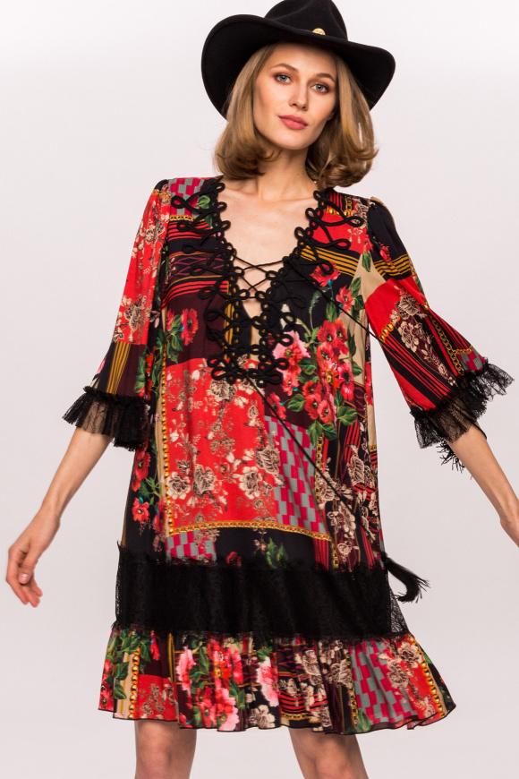 Luźna sukienka wiskozowa z nadrukiem i koronkowymi detalami