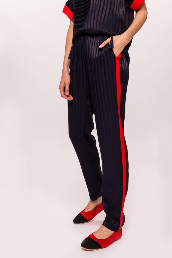 Wiskozowe spodnie z kontrastową lamówką