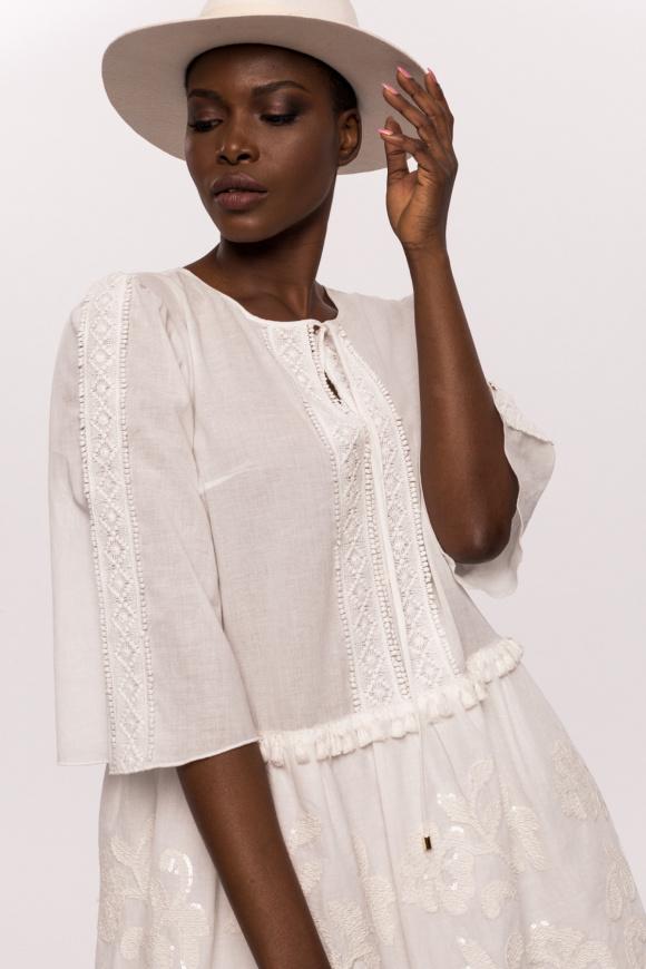 Bawełniana sukienka z motywem etnicznym i cekinami