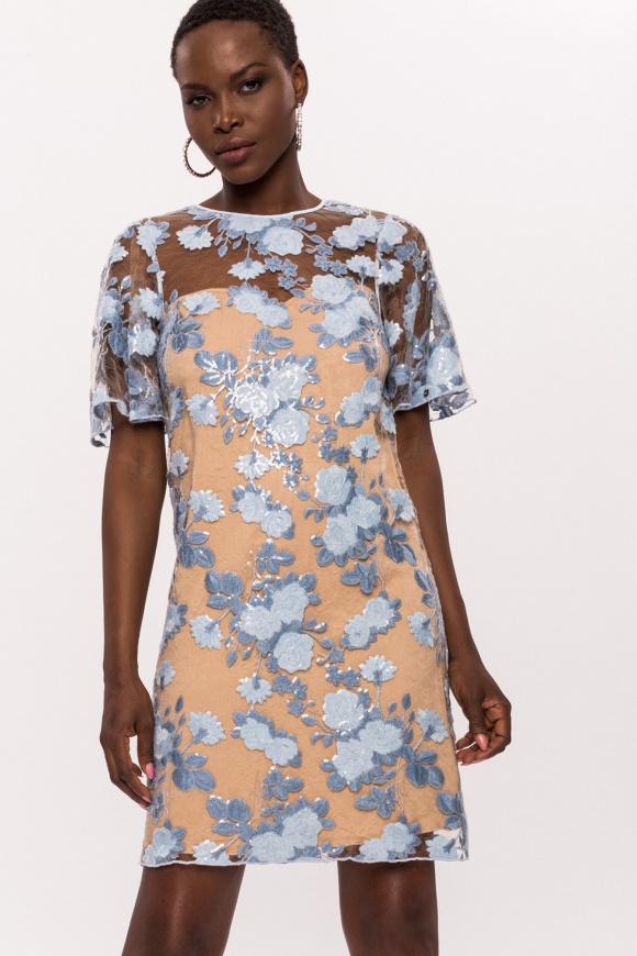 Sukienka z kwiatami, krótkimi rękawami i cekinami
