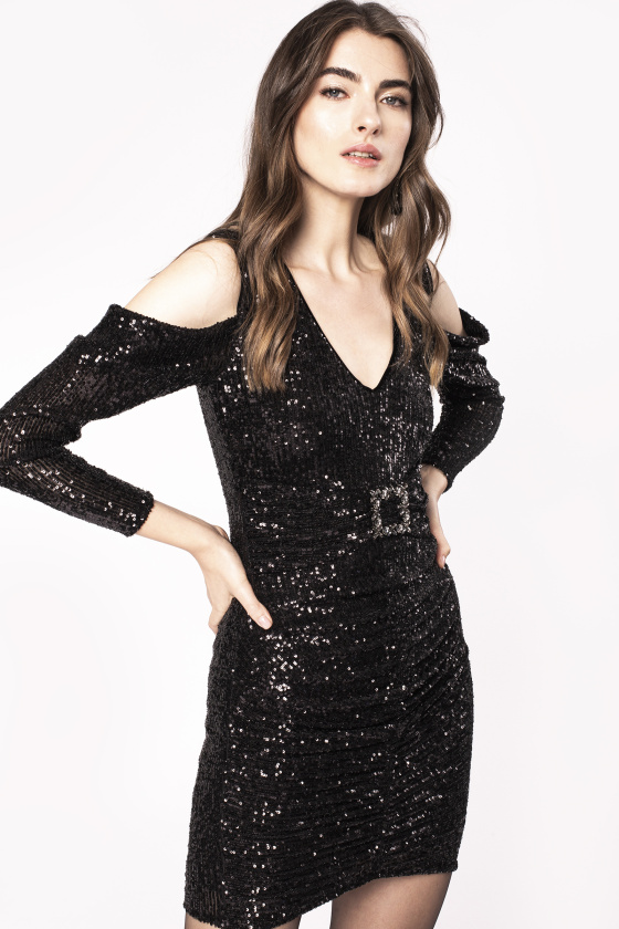 Off-the-shoulder sequinned dress