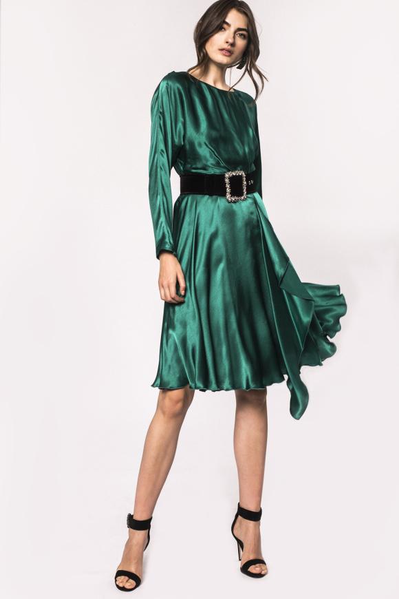 Sukienka wiskozowa z boczną falbaną
