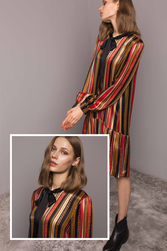 Asymetryczna sukienka z szalikiem