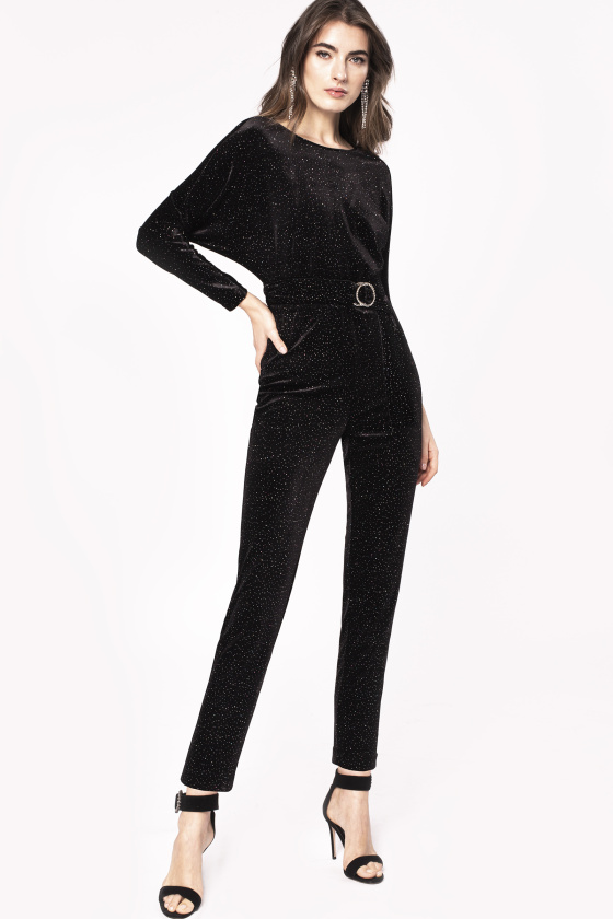 Crystal applique velvet jumpsuit