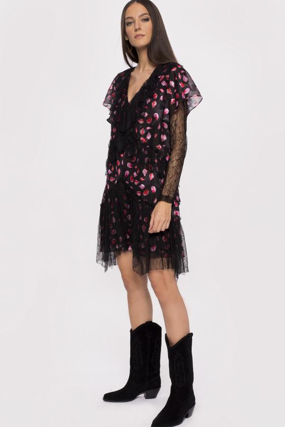 Sukienka mini z koronkową wstawką