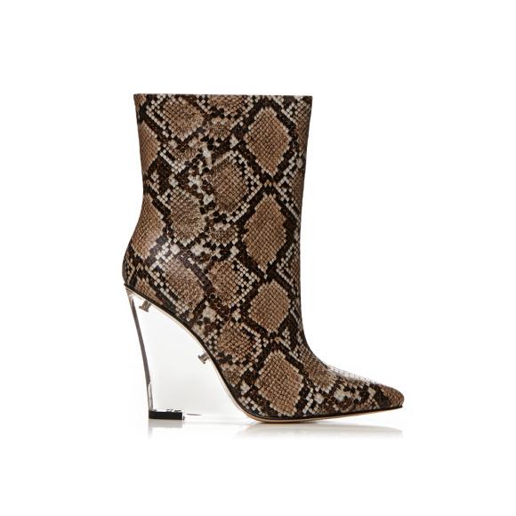 Buty ze skóry naturalnej z nadrukiem krokodyla i przezroczystą piętą