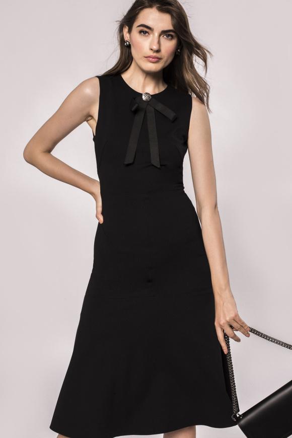 Bow embellished neckline jersey dress