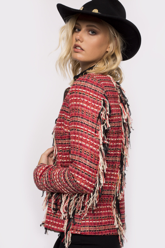 Multicolor insert fringed jacket