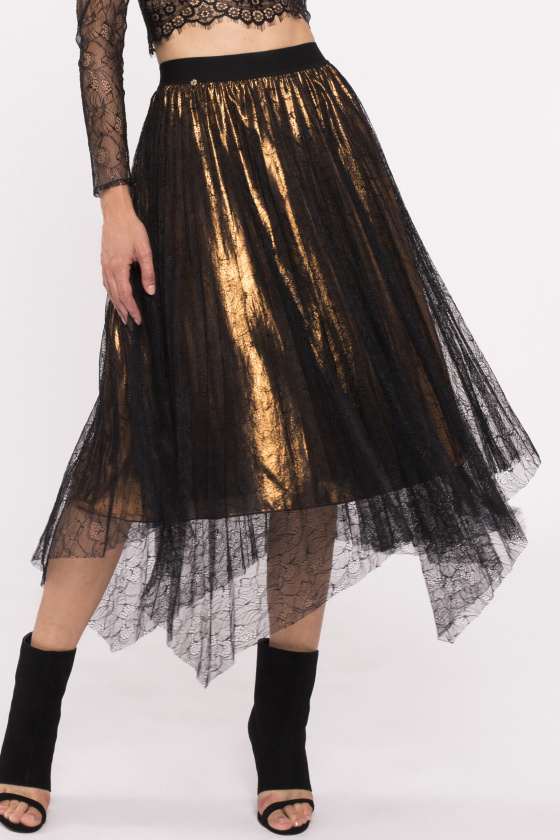 Lace adorned metallic finish skirt