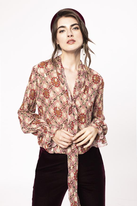 Wiskozowa bluzka z szalikem