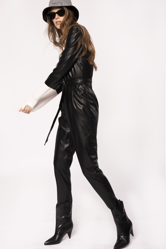 Leather jumpsuit with belt