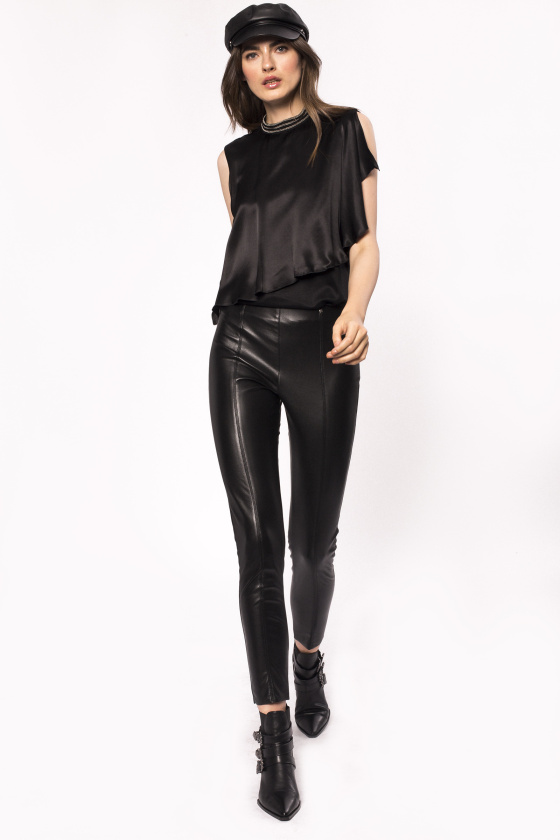Ecological leather skinny trousers
