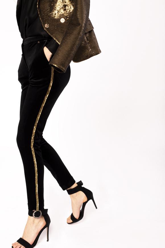Metallic side tape velvet trousers