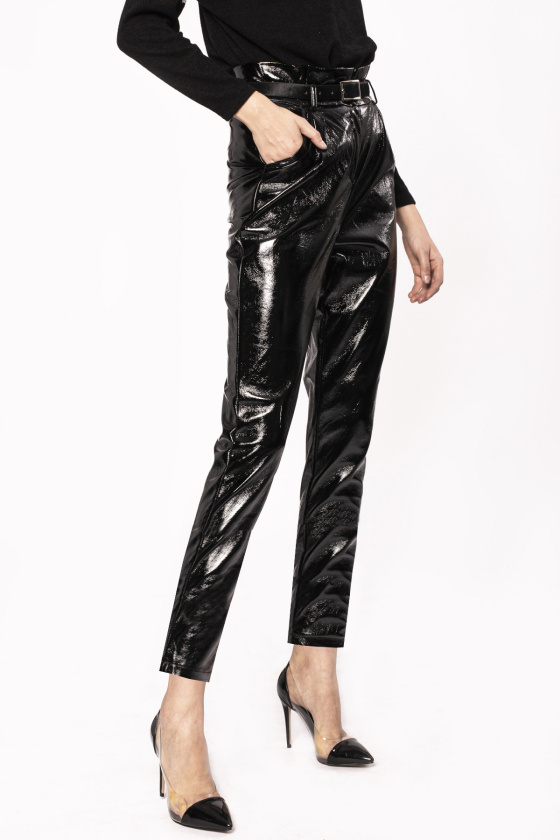 Wet look trousers