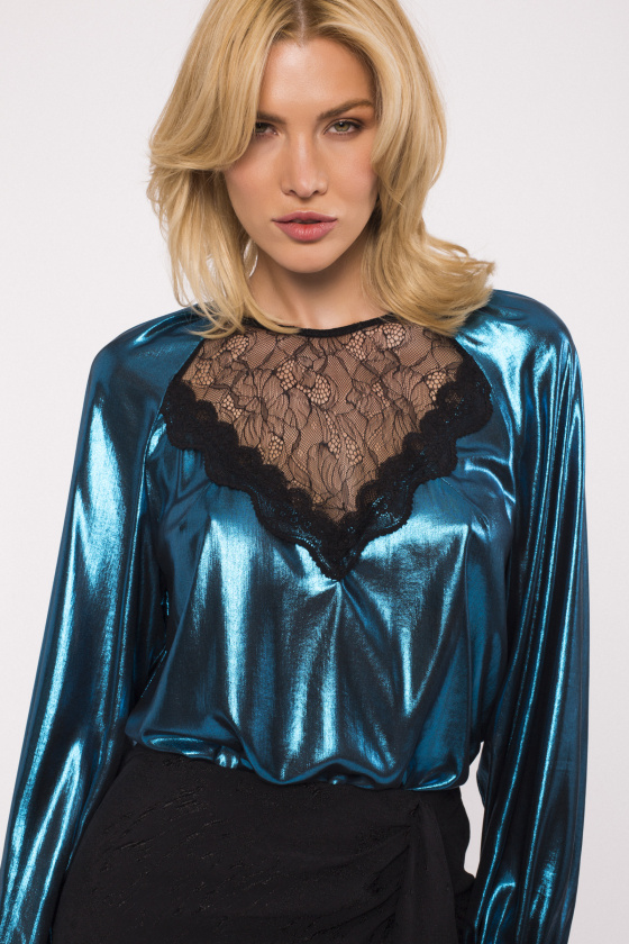 Metallic finish lace insert blouse