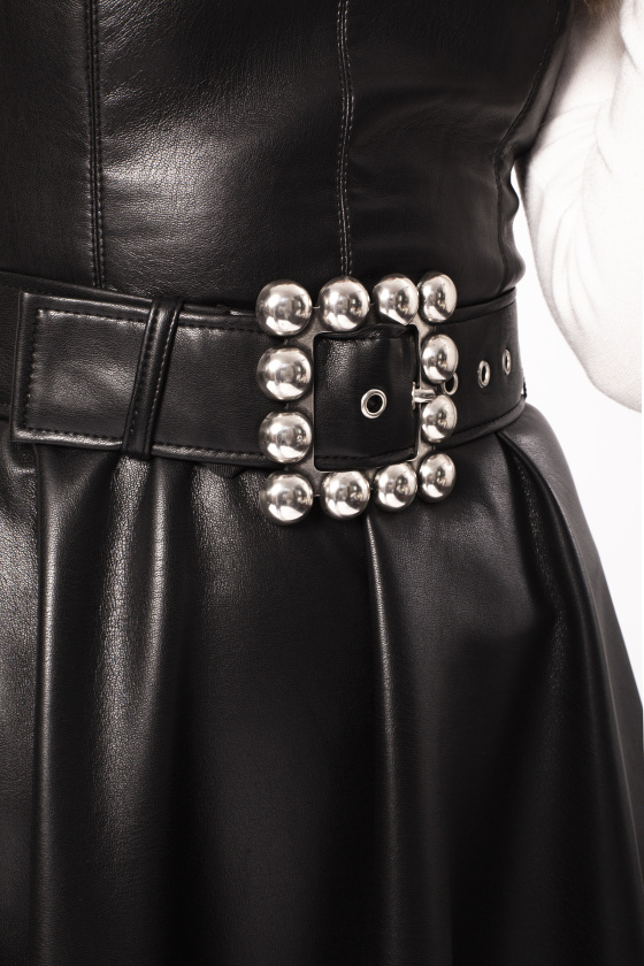 Metallic detail faux leather belt