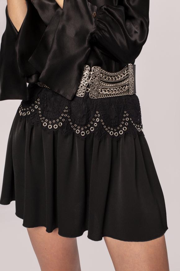 Metallic applique lace insert skirt