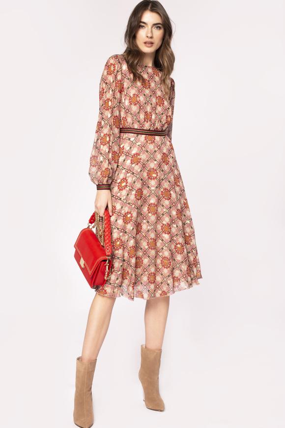 Contrasting waist detail viscose dress