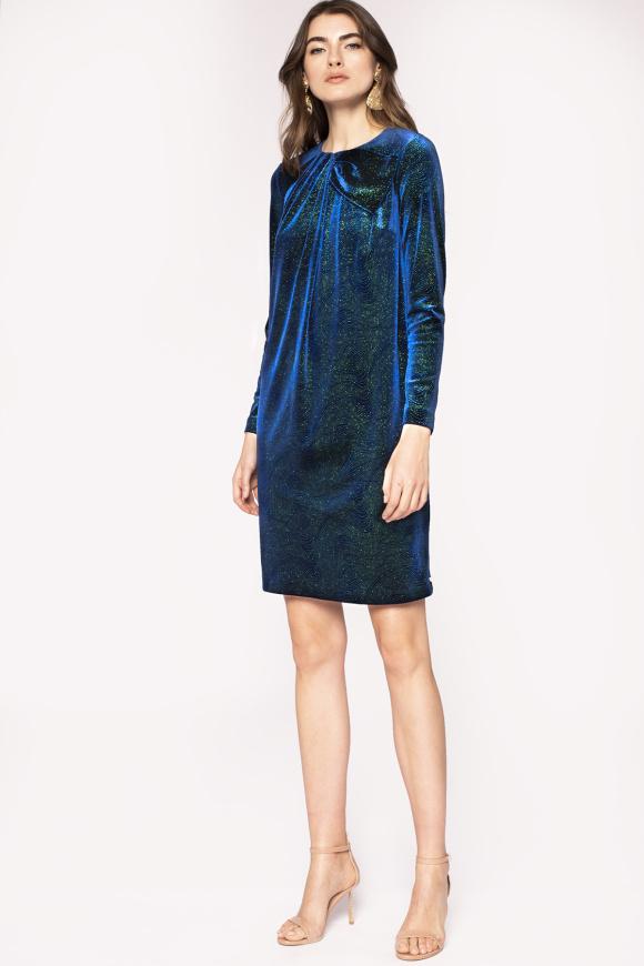 Chest detail shiny finish velvet dress