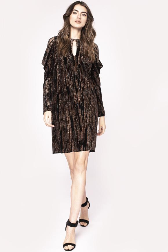Golden thread insert lace detail dress