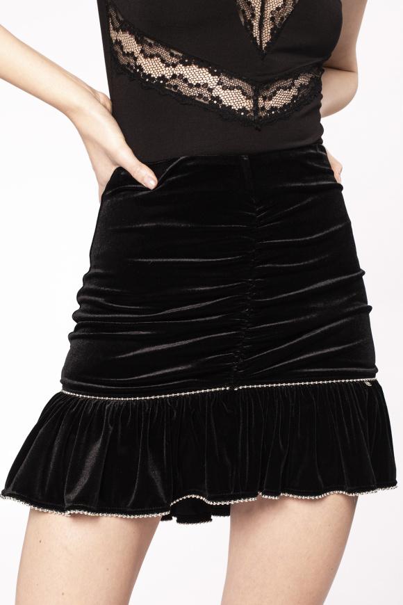 Metallic details velvet skirt