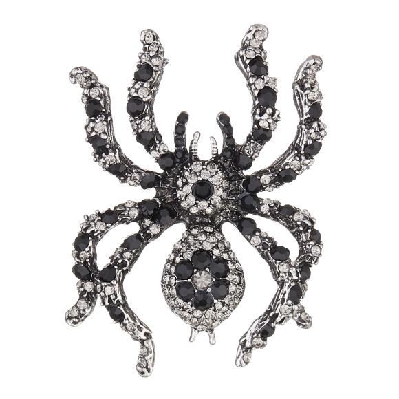 Crystal embellished spider brooch