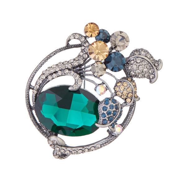 Multicoloured crystals brooch